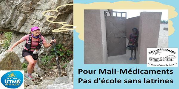 """Montage représentant Noémia en course en montagne, elle regarde vers, elle a une pensée (symbolisée par un nuage) des latrines avec une petite fille malienne tenant son broc d'eau. Logos UTMB et Mali-médicaments. Slogan """"Pour Mali-Médicaments pas d'école sans latrines"""""""