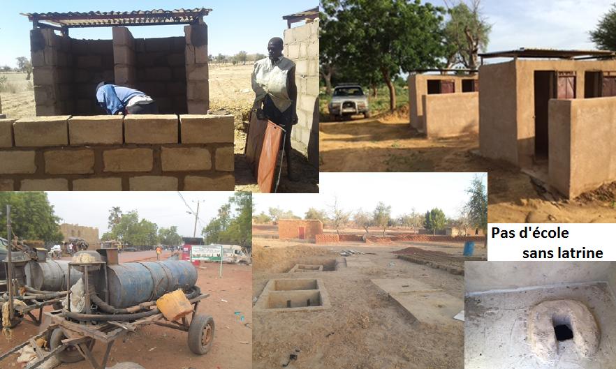 Montage relatif aux latrines: assemblage de photos: construction, blocs séparés, fosse, pompe intérieur d'une cabine,...